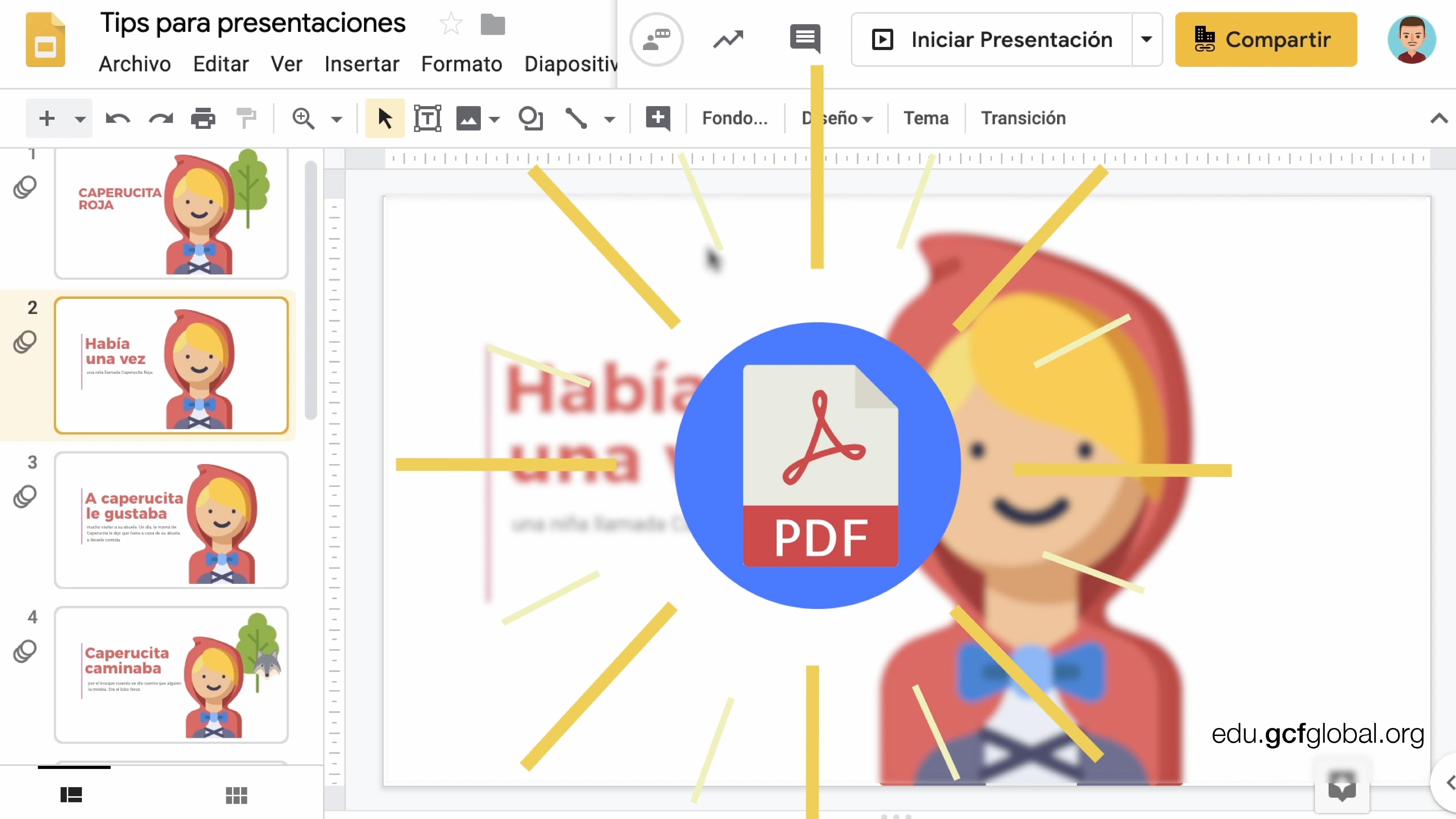 Imagen de diapositiva con el logo del formato PDF encima.