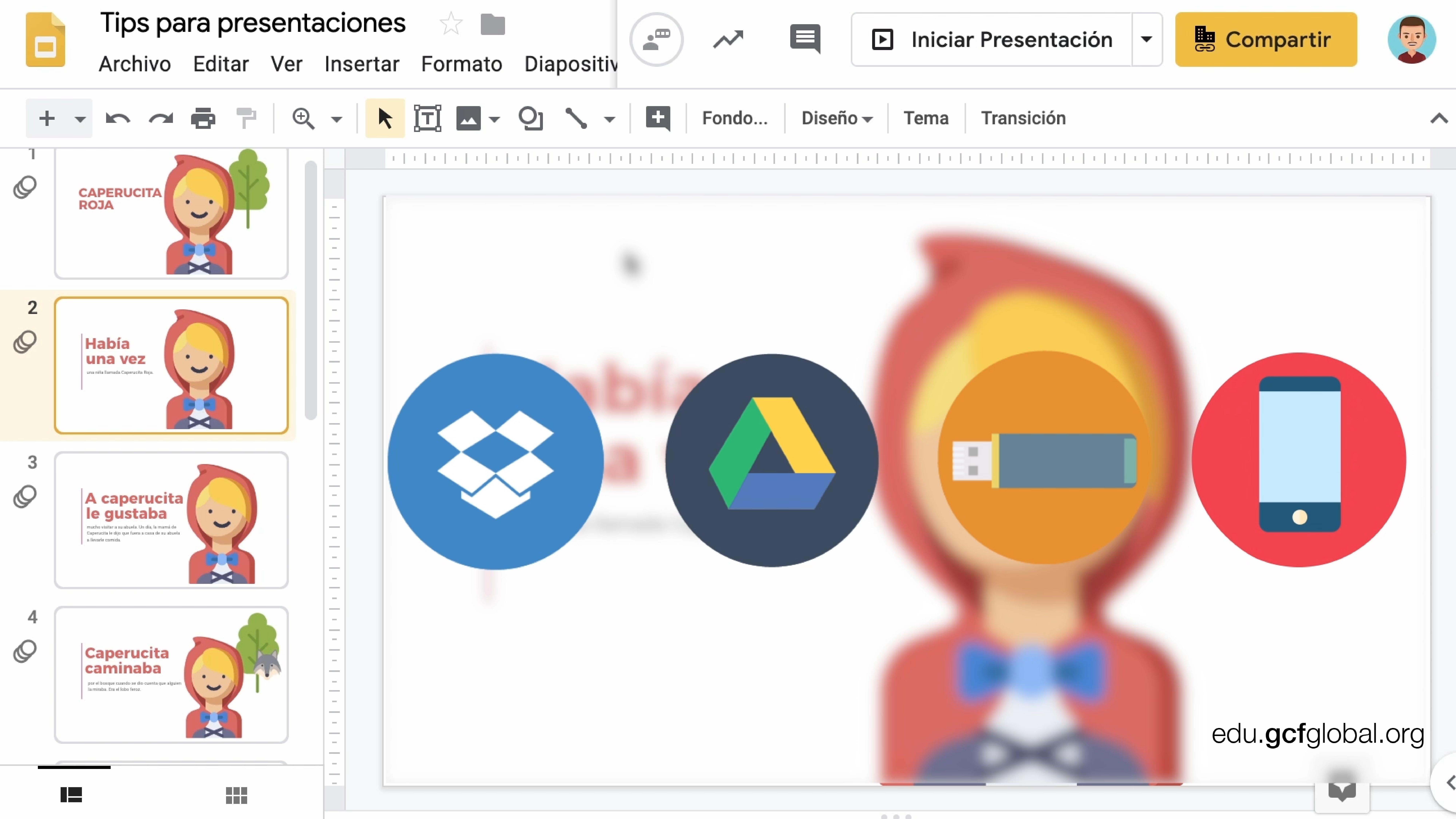 Imagen de diapositiva con recursos visuales de Dropbox, Google Drive, una USB y un celular inteligente.