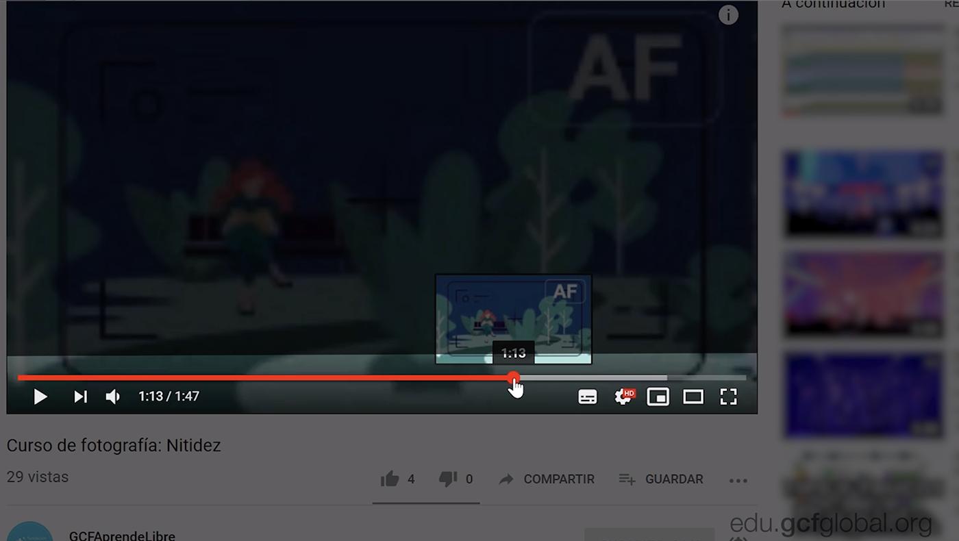 Adelantar un video en YouTube.