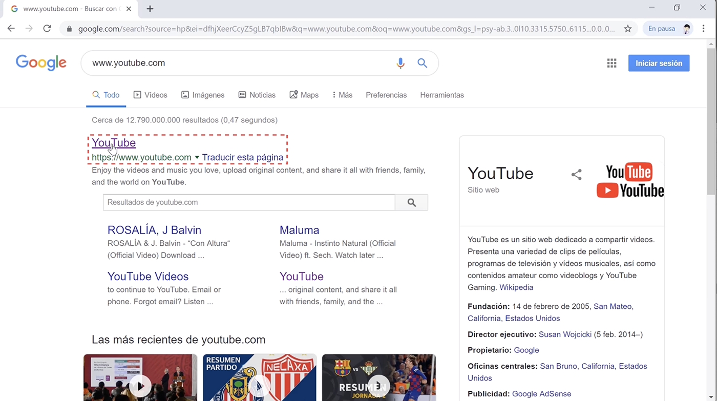 Buscar YouTube.com