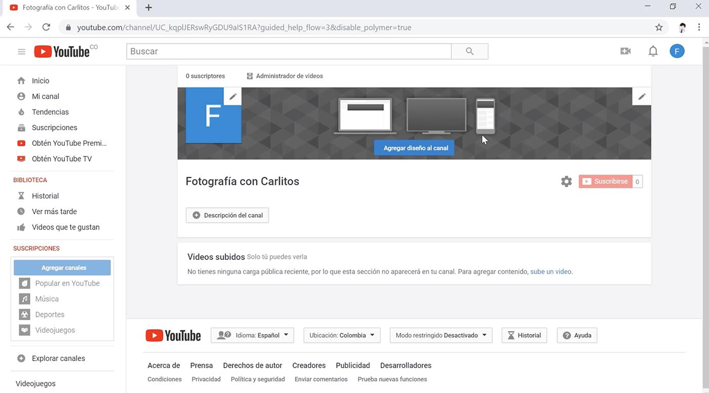 Configurar el canal de youtube