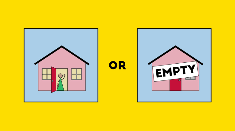 illustration showing the false dilemma of either Ethan being home or his home being empty