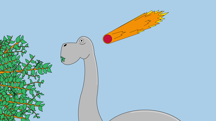 illustration of a dinosaur eating leaves while a meteor falls in the background
