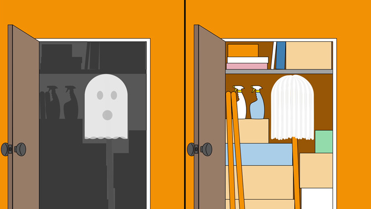 illustration of a splitscreen showing a ghost in a closet on the left, and that same closet with a mop in it on the right