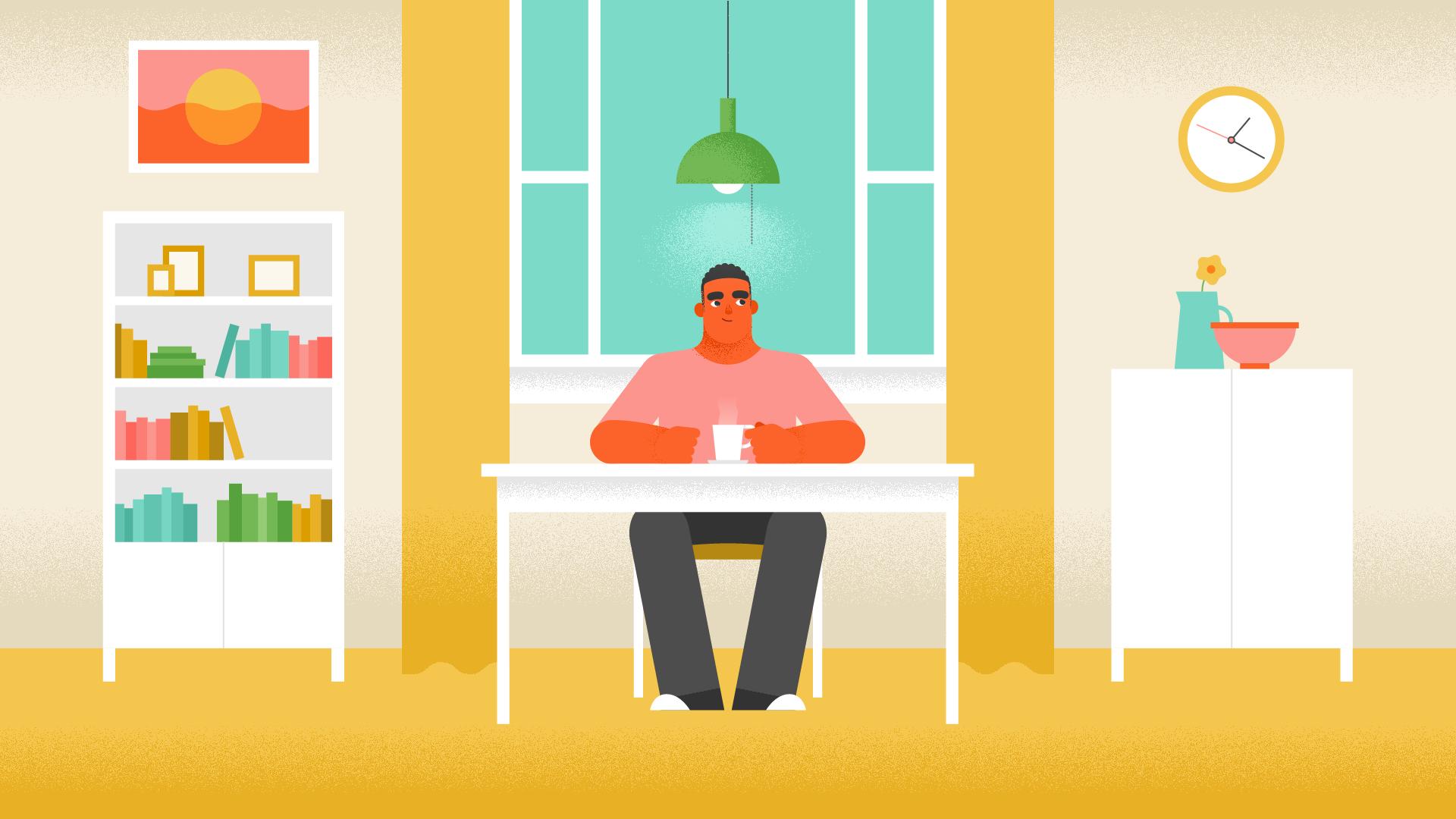 man looks around dining room, smiling