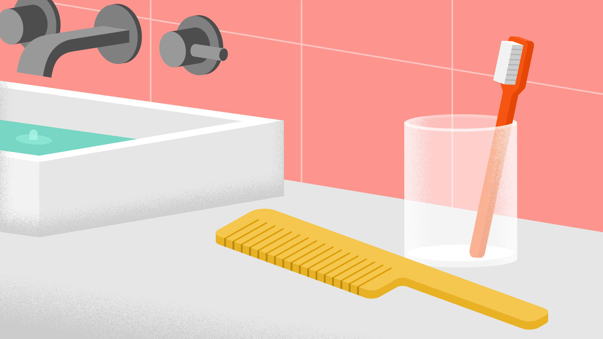 bathroom sink with comb and toothbrush
