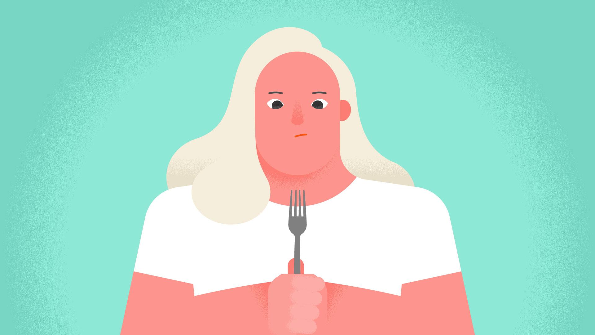 woman staring at fork