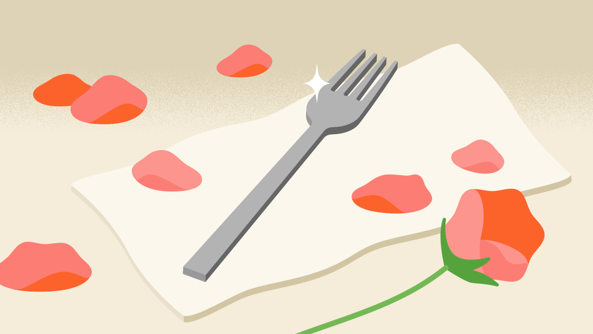 fork surrounded by rose petals