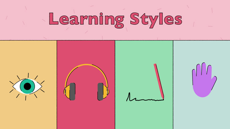 illustration of an eye, headphones, a pencil writing something, and a hand, to represent the four learning styles