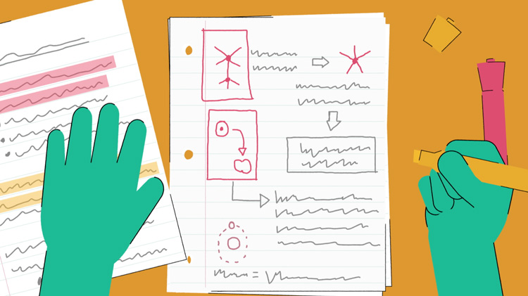 illustration of someone looking at notes containing hand-drawn diagrams