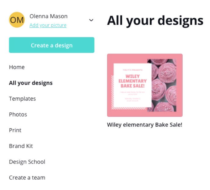 "screenshot of ""All your designs"" page"