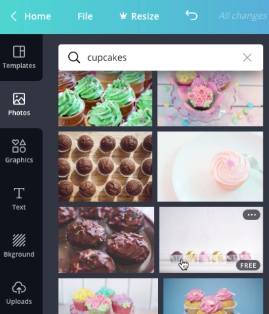 "screenshot of ""cupcakes"" photo search results"