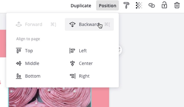 "screenshot of ""Position"" dropdown menu with ""Backward"" selected"