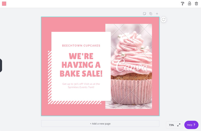 screenshot of Canva cupcake template on canvas