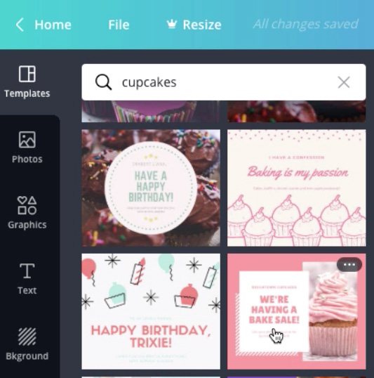 "screenshot of ""cupcakes"" template search"