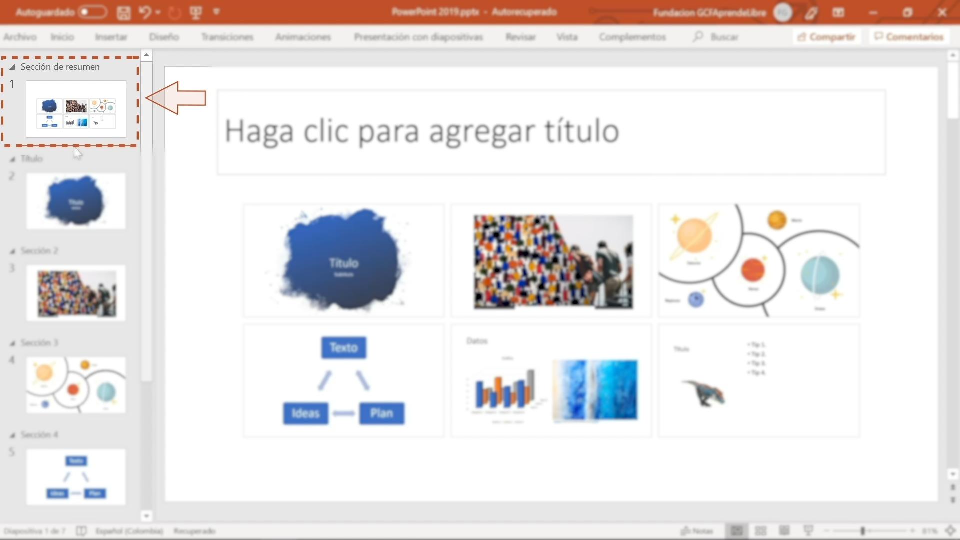 Imagen mostrando todas las diapositivas a través de la Sección de resumen.