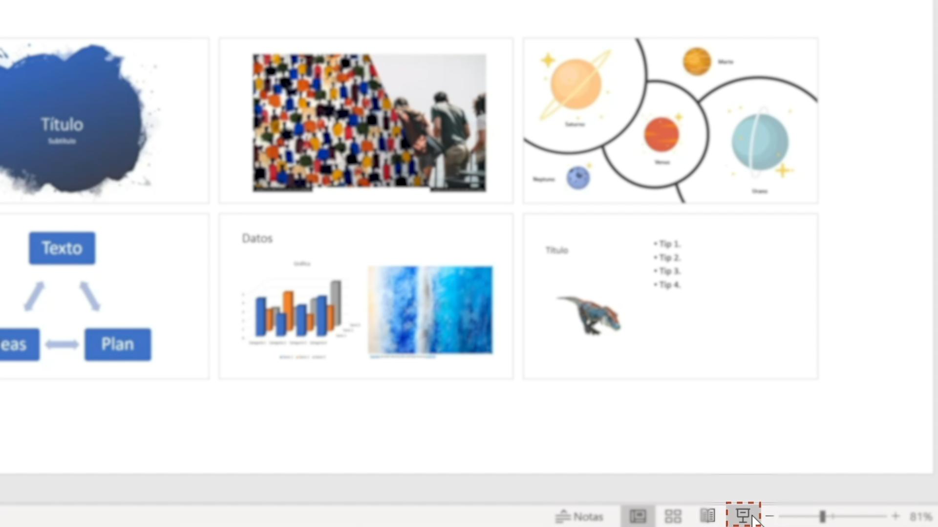 Imagen eligiendo la opción opción Presentación con diapositivas.