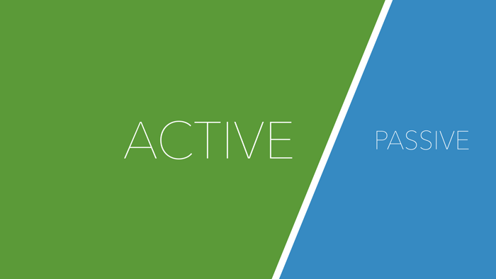 Two halves labelled 'Active' and 'Passive', with the 'Active' half taking most of the space.