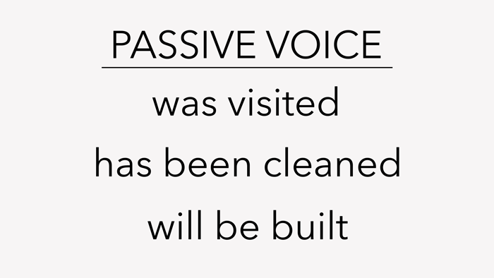 """A list titled """"Passive Voice"""", with three examples: """"Was visited"""", """"Has been cleaned"""", and """"Will be built""""."""