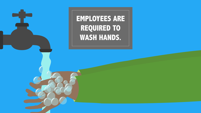 """A pair of hands washes underneath a faucet and a sign that reads """"Employees are required to wash hands."""""""