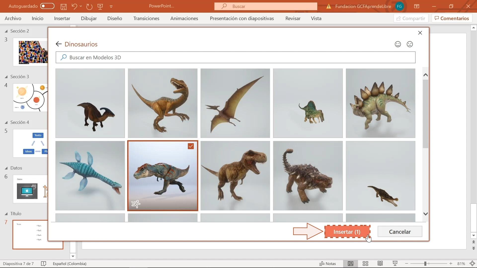 Imagen de modelo 3D elegido y haciendo clic en Insertar.