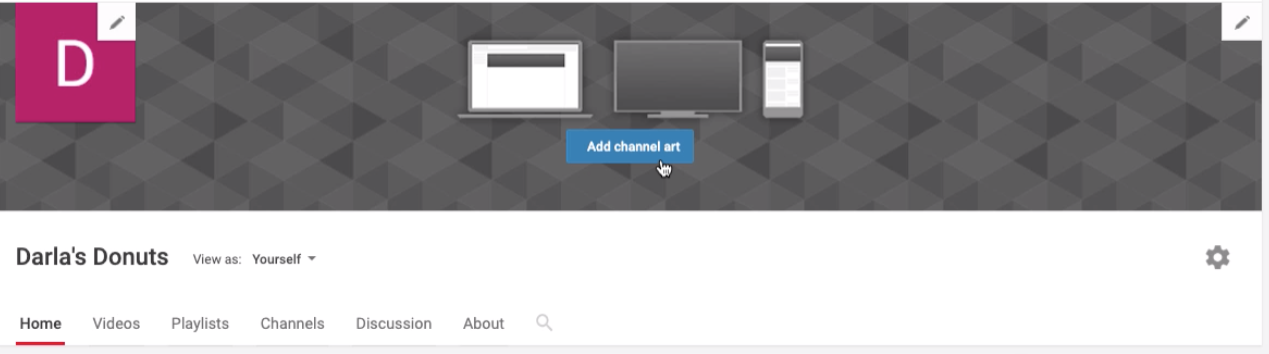 "screenshot of blank channel art space with ""Add channel art"" button"