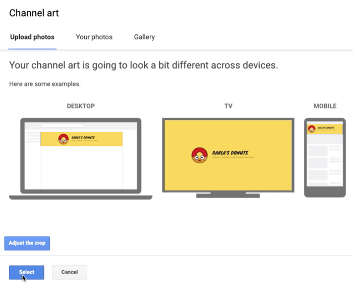 screenshot of YouTube banner on different devices