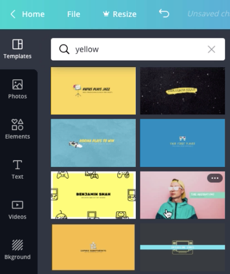 "screenshot of ""yellow"" templates search results"