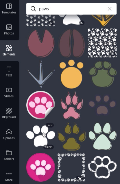 "screenshot of ""paws"" image search"