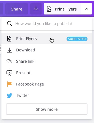 "screenshot of ""Print Flyers"" in drop-down menu"