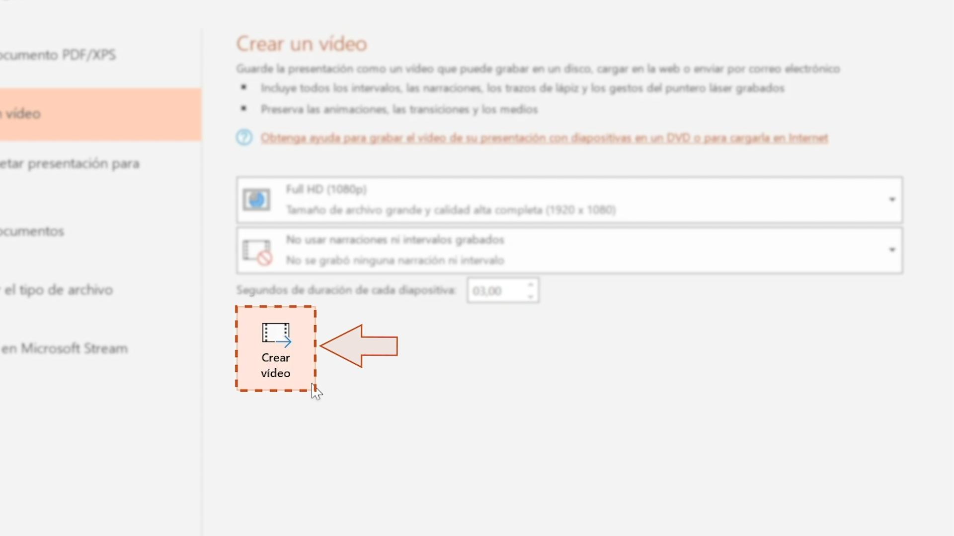 Imagen haciendo clic en la opción Crear video.