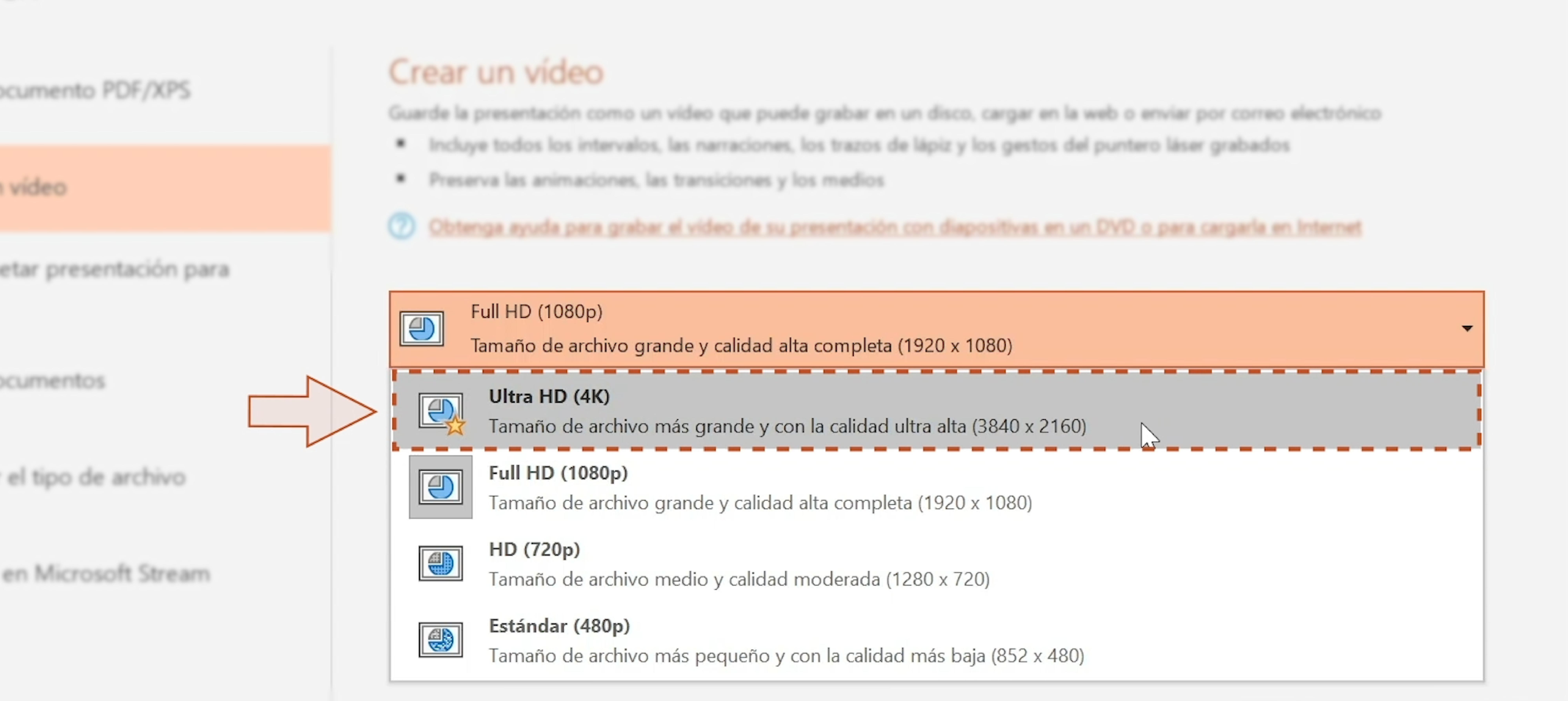 Imagen de lista con los tipos de resolución de video.