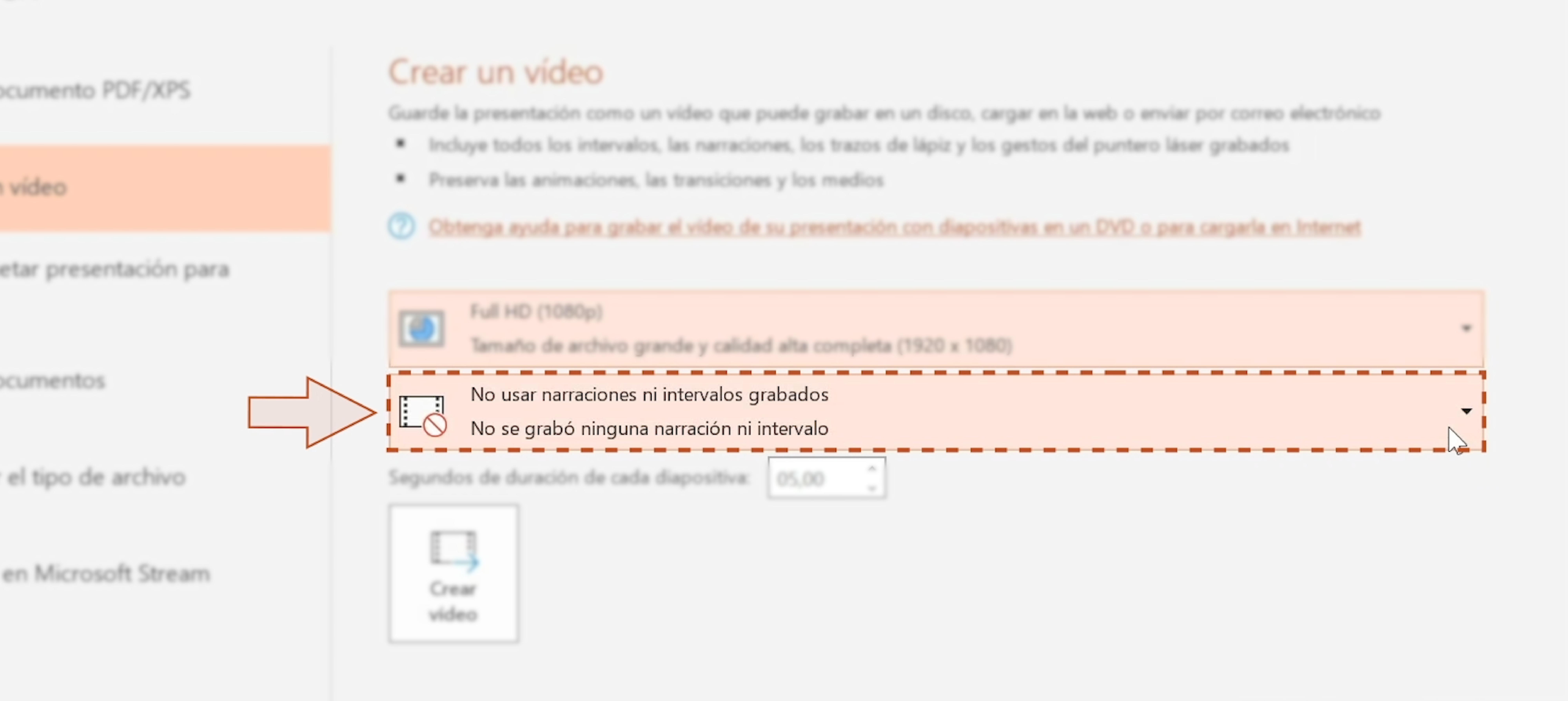 Imagen eligiendo la opción intervalos y audio para el video.