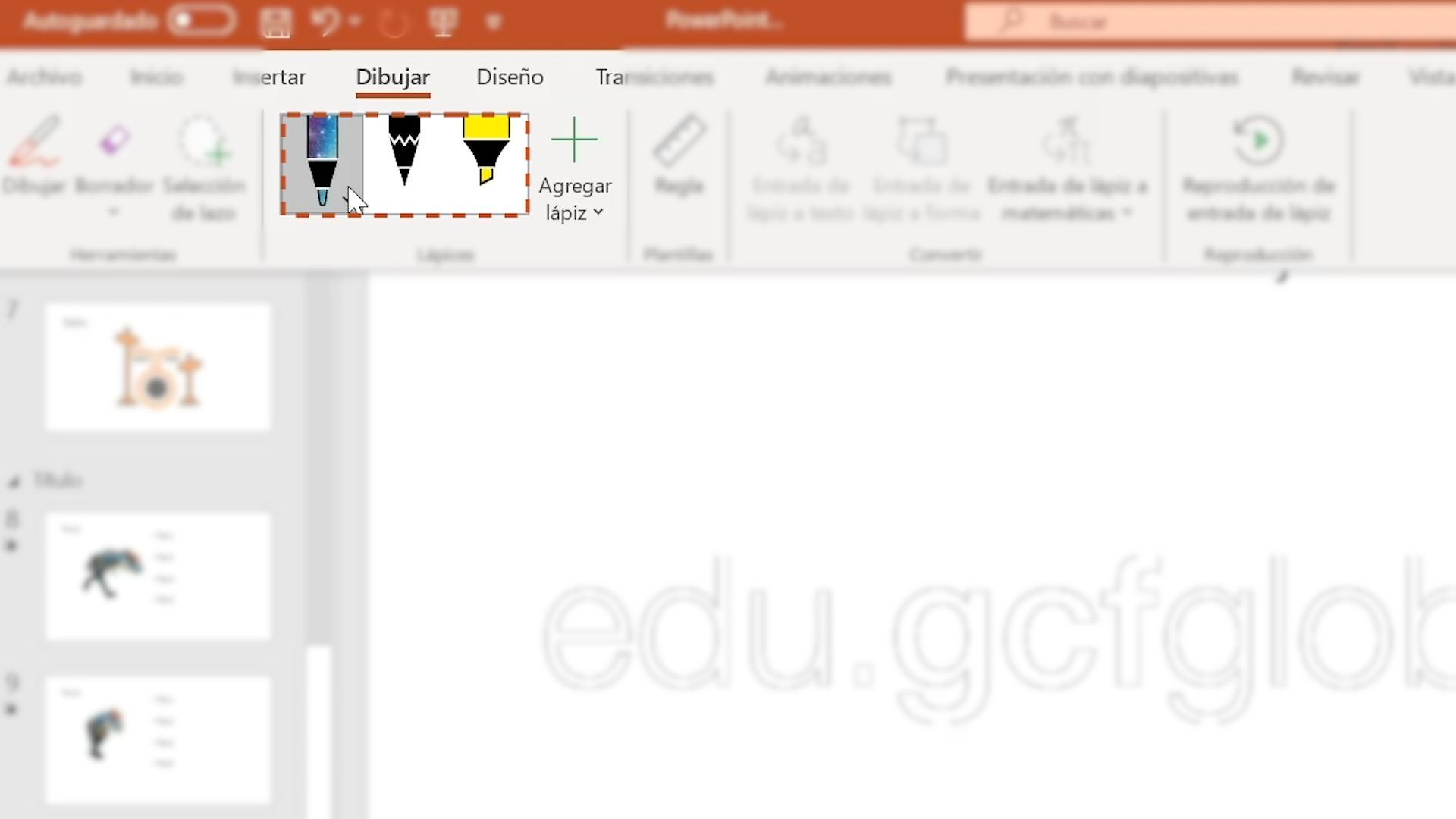 Imagen mostrando las opciones de lápices.