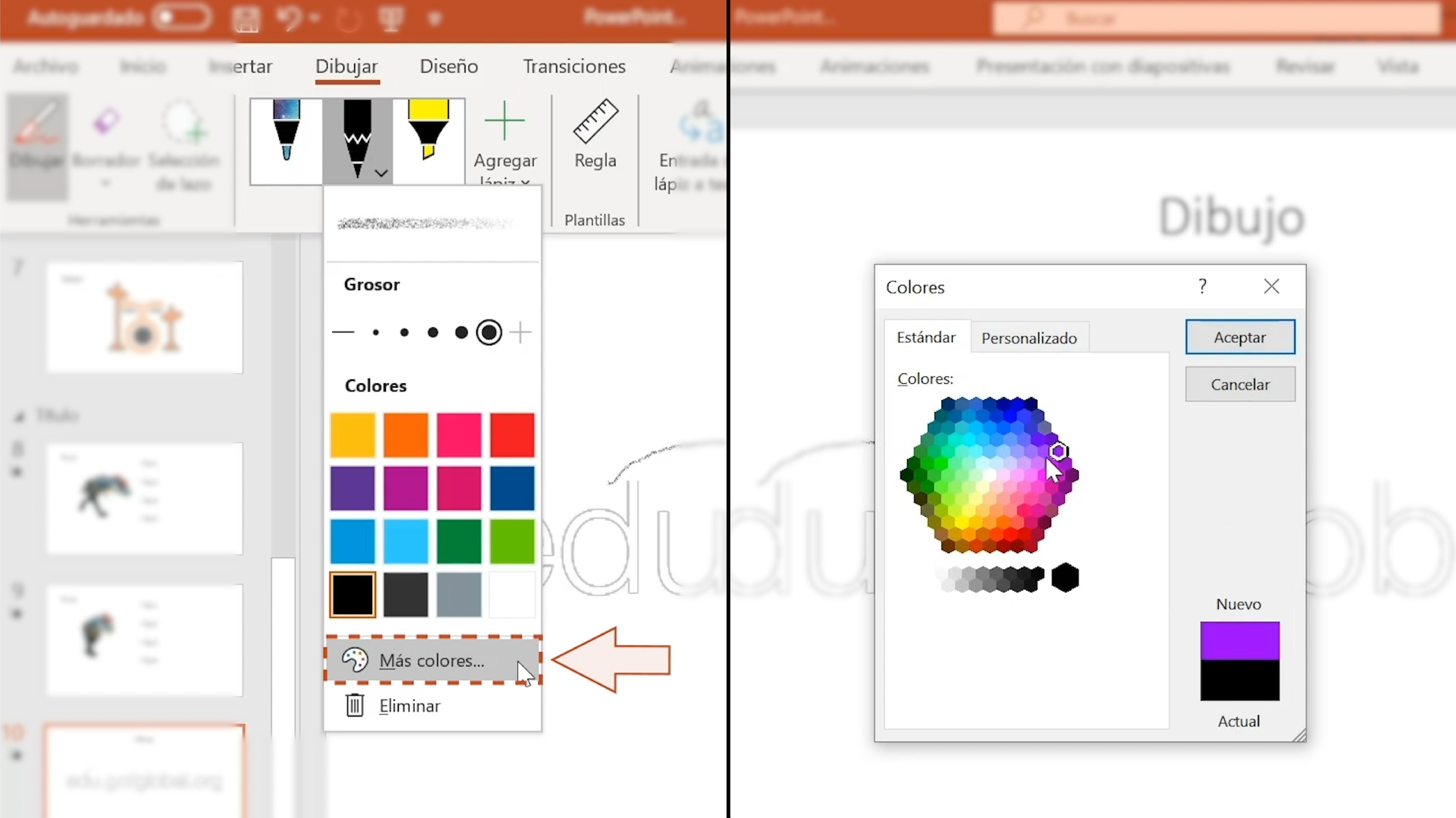 Imagen haciendo clic en la opción Más Colores.