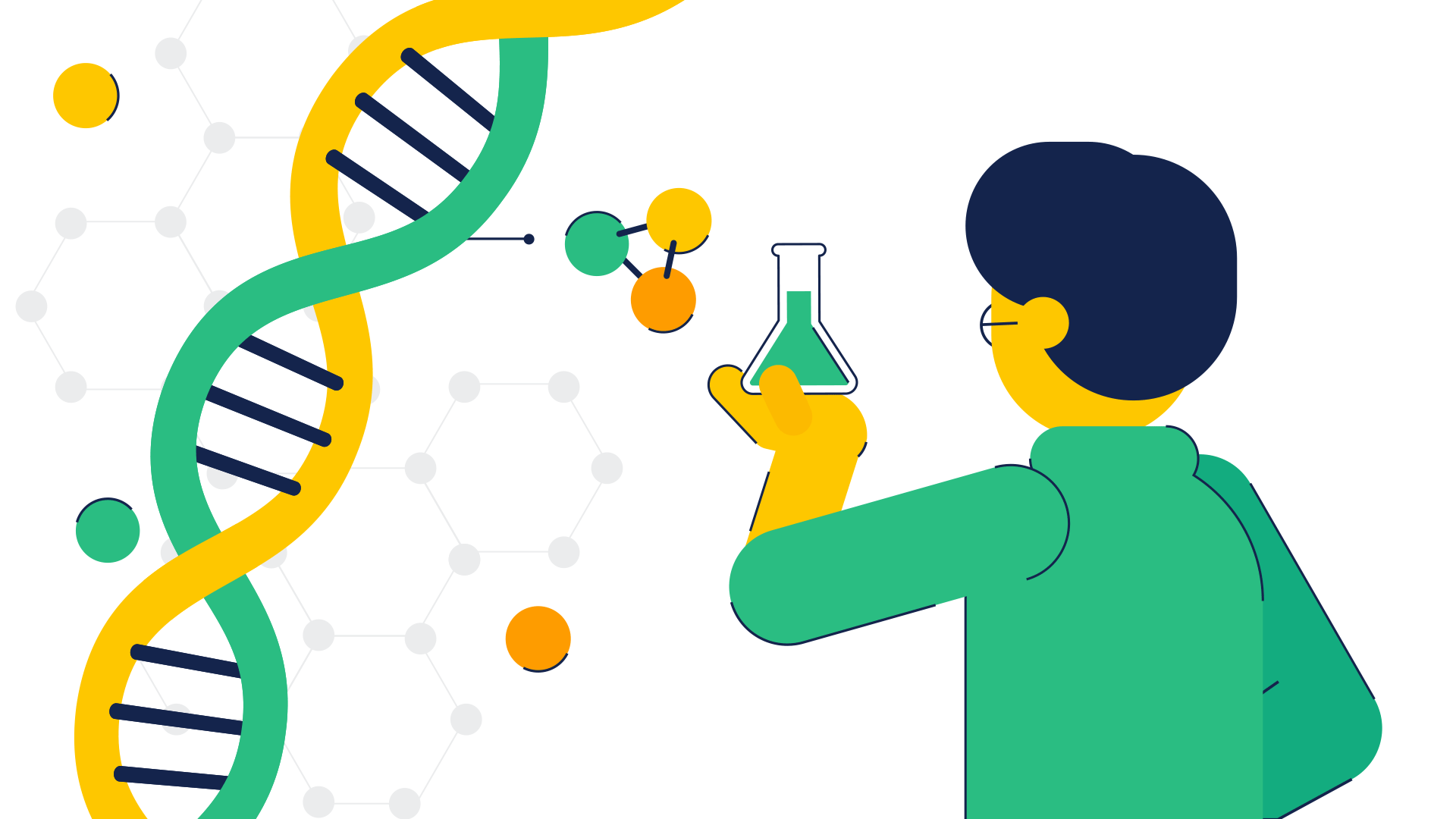 An illustration of a person holding a beaker, and a strand of DNA.