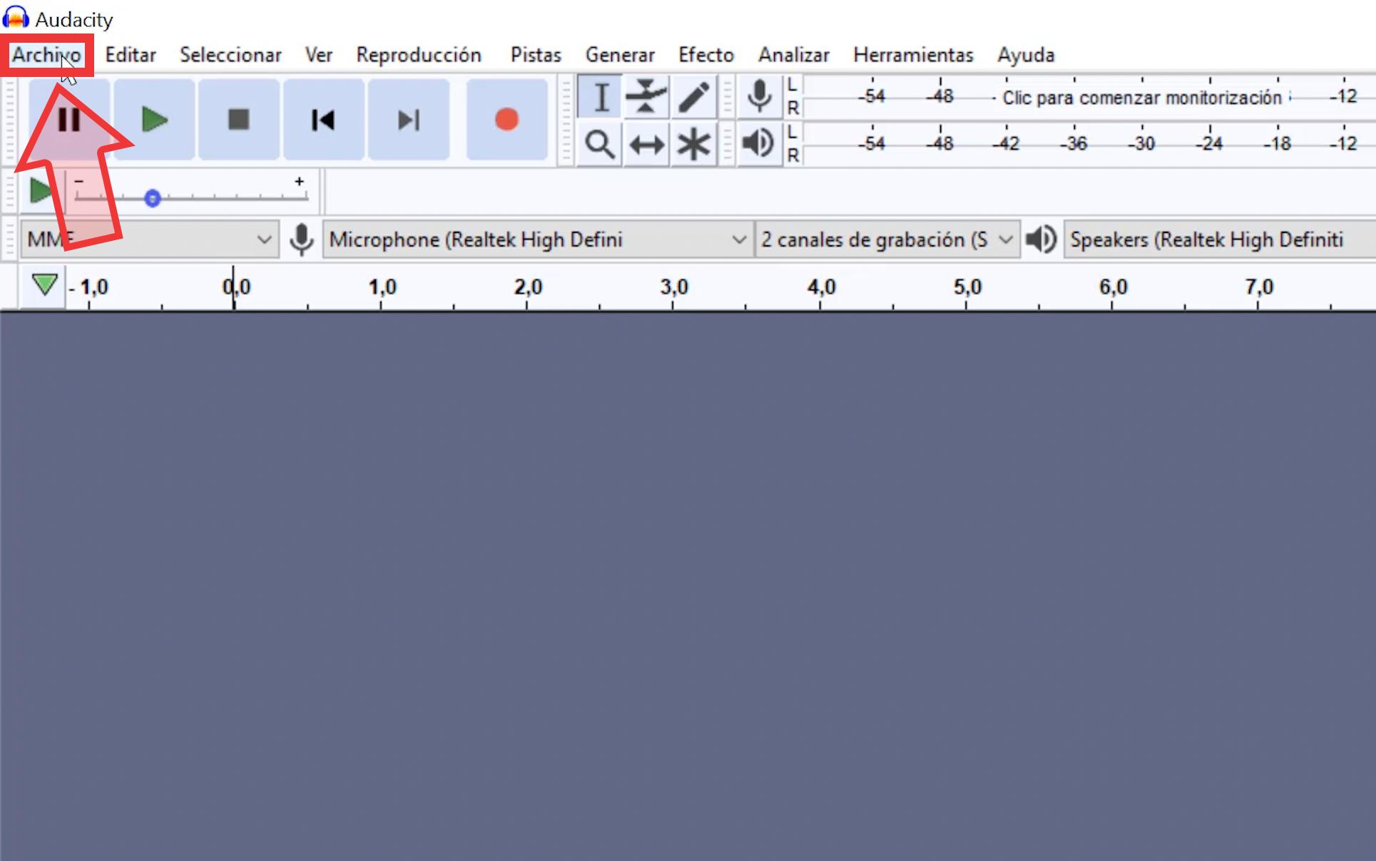 Una vez en Audacity, ubícate en la pestaña superior izquierda y selecciona la opción Archivo.