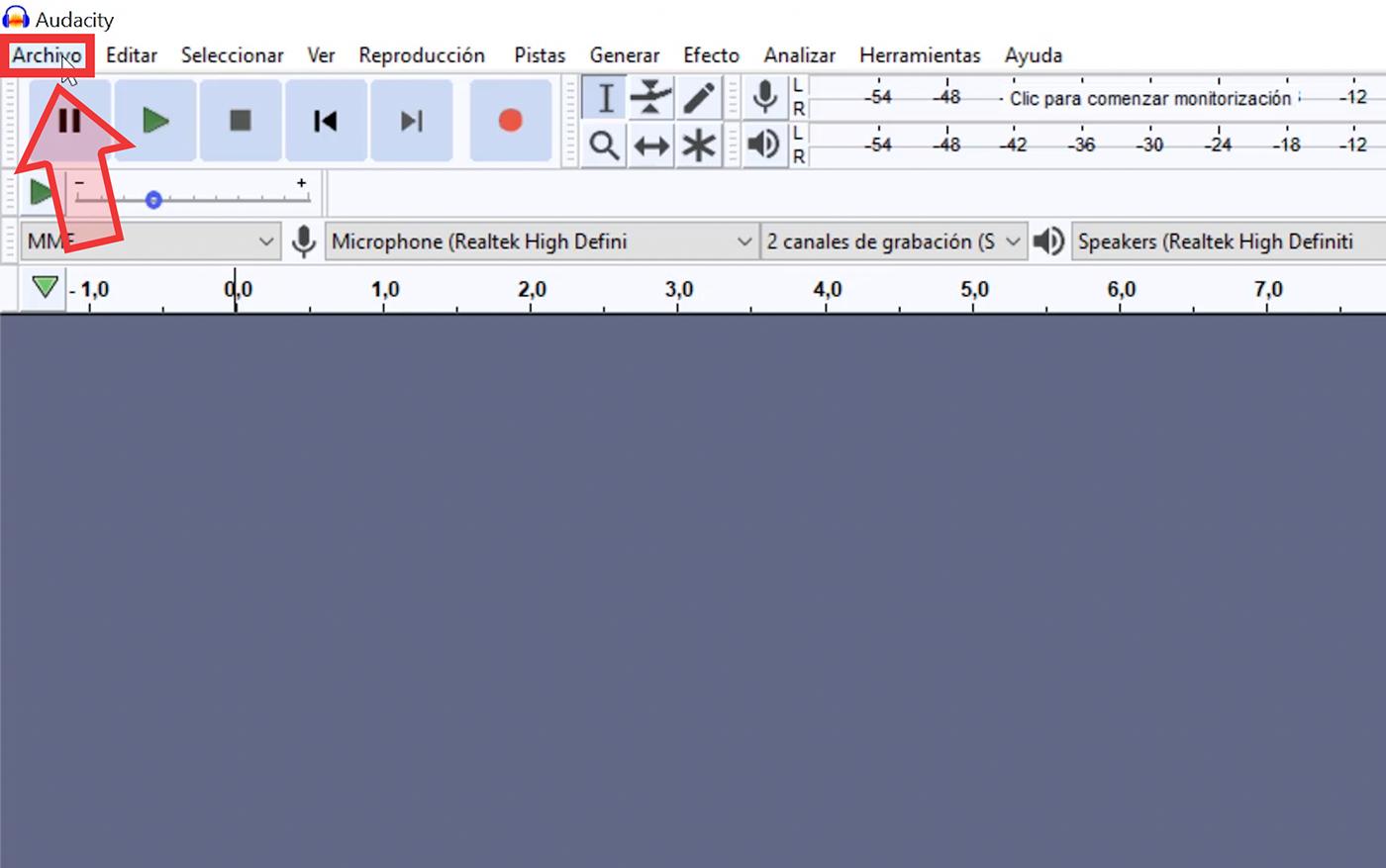 Selecciona de tu ordenador el archivo de audio que deseas editar.