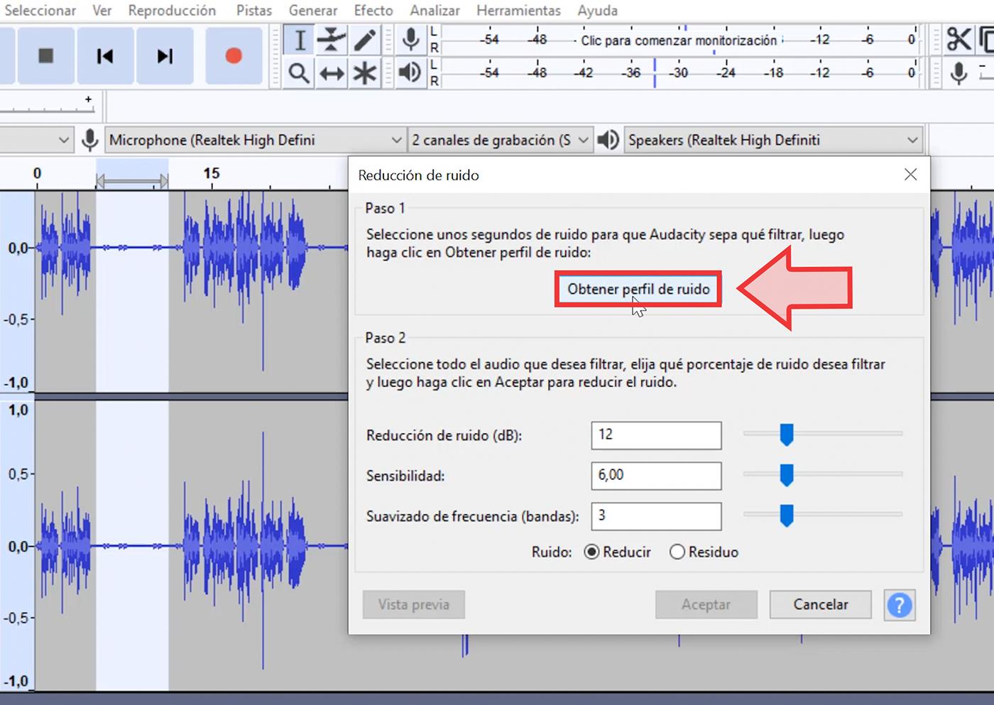 Allí, haz clic en la opción Obtener perfil de ruido.