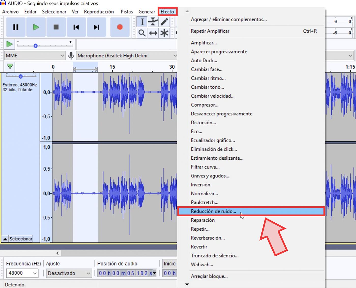 Ahora, haz clic en la pestaña Efecto y selecciona la opción Reducción de ruido.