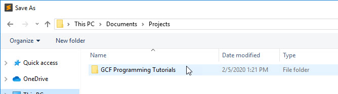 GCF Programming Tutorials folder