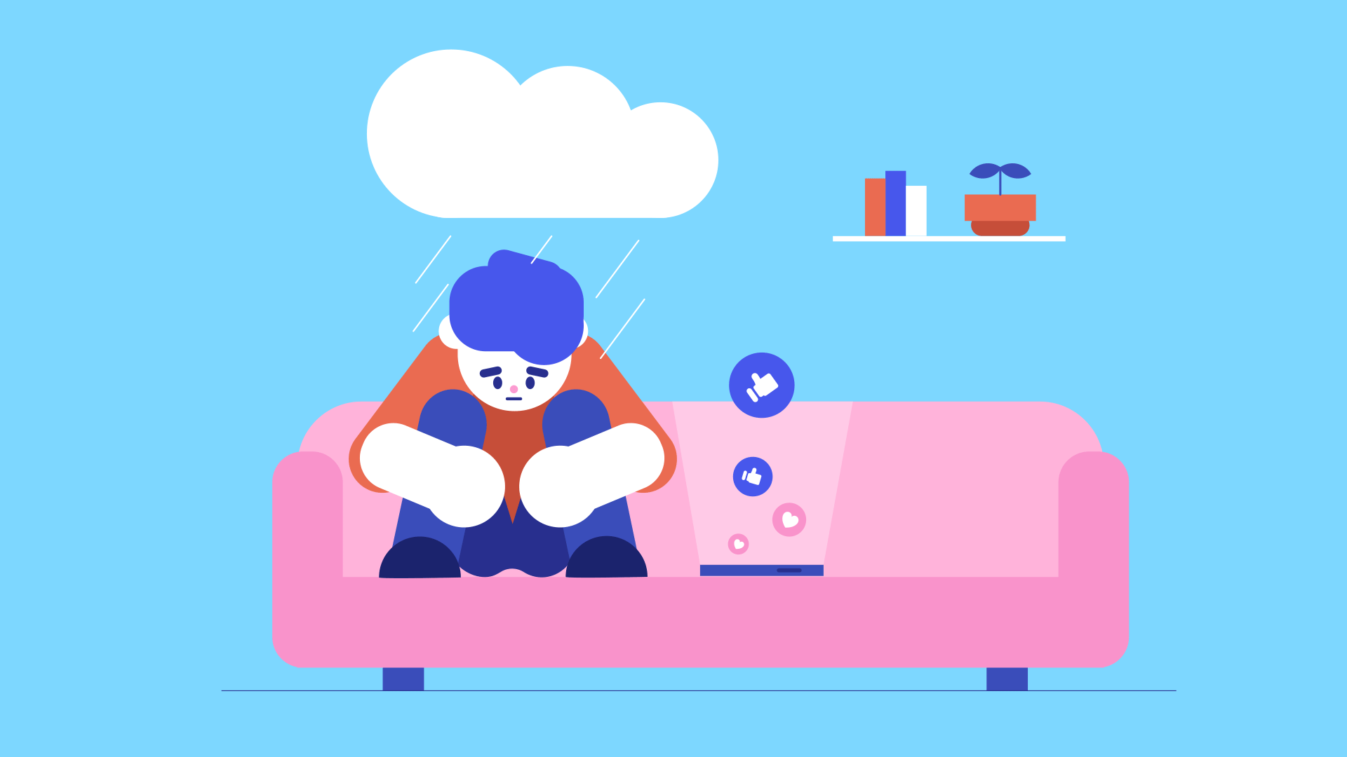 A sad person sits on a couch next to a smartphone, with a small rain cloud above them.
