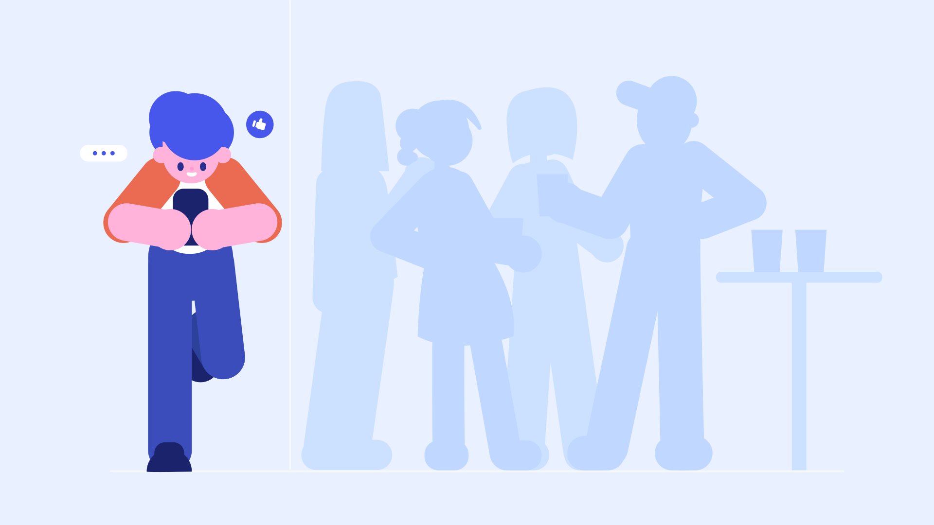 A person looks at their smartphone, standing apart from a group of friends.