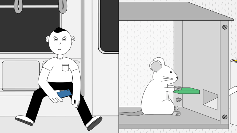 A content man sitting on a subway, not looking at his phone; a mouse pushing the lever, awaiting food