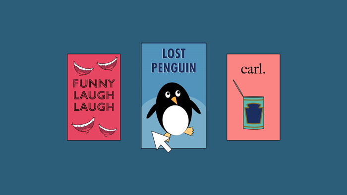 A small selection of streaming movies, with a mouse cursor selecing a title called Lost Penguin.
