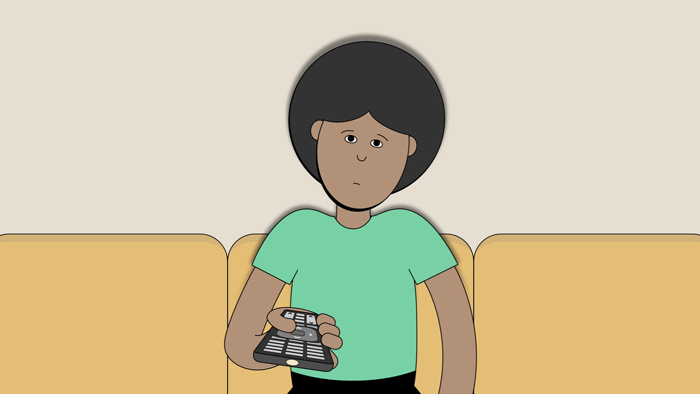 A person shrugs their shoulders while holding a television remote.