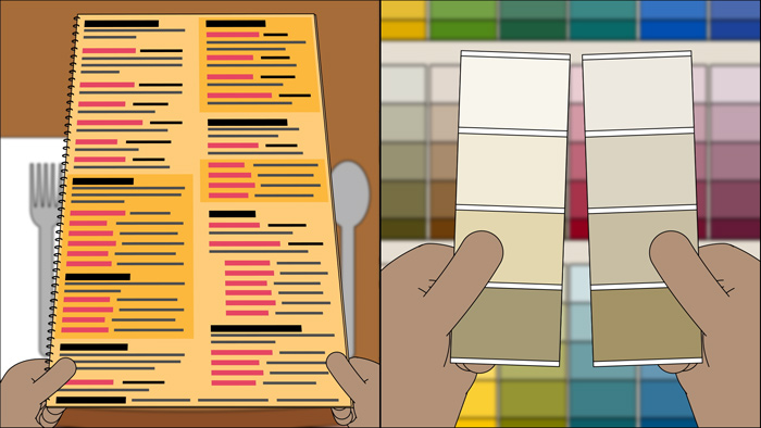 A person holds a lengthy dinner menu, and another person holds various paint swatches.