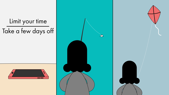 """A notice reads """"Limit your time, take a few days off"""", while a person fishes and flies a kite."""