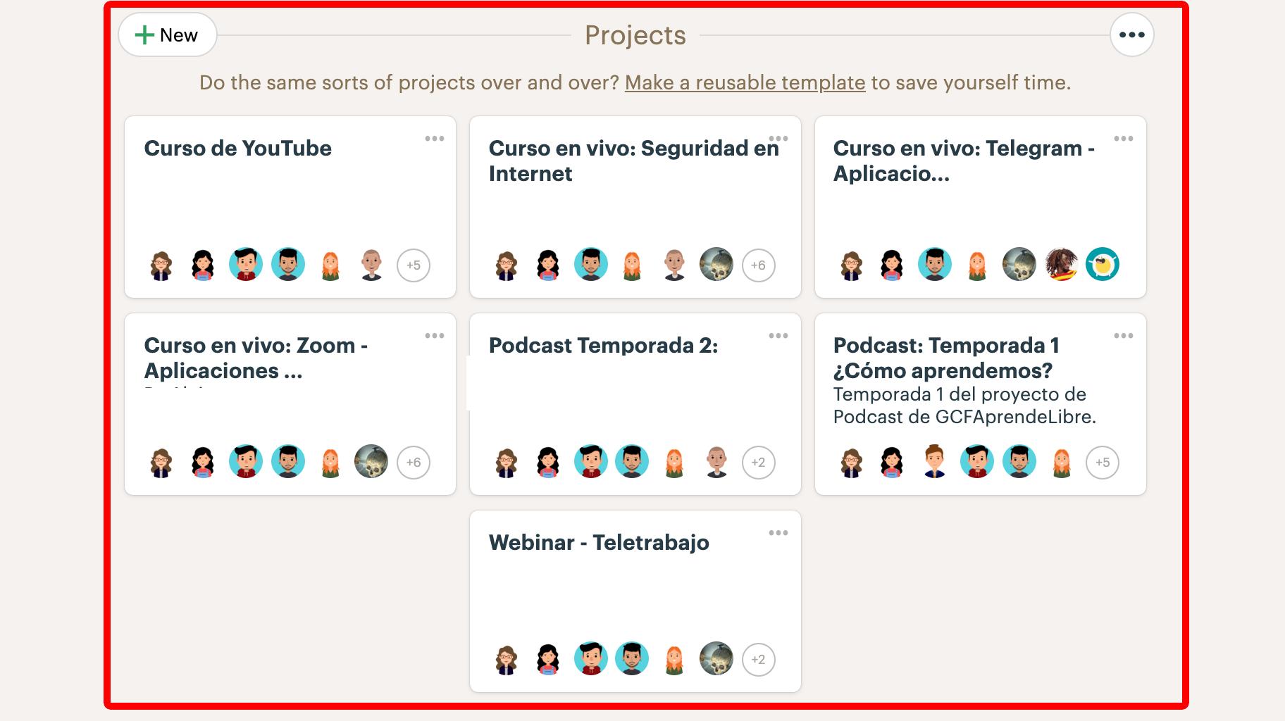 Proyectos en Basecamp 3.
