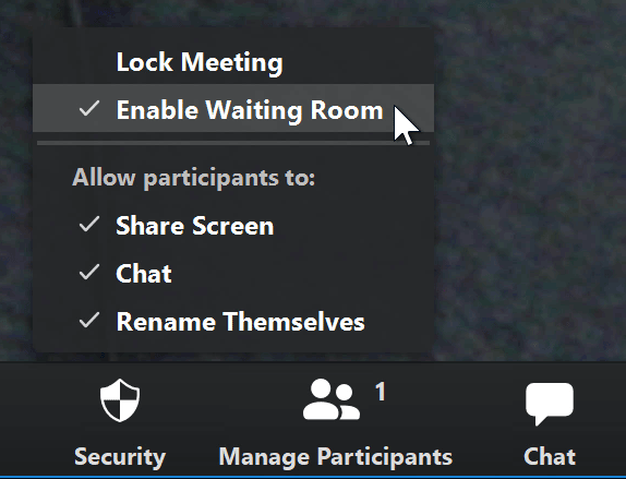 A screenshot of a mouse cursor hovering over the Enable Waiting Room option in the Zoom app.